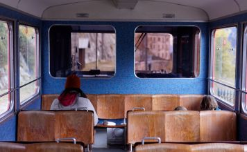 woman traveling alone on a train