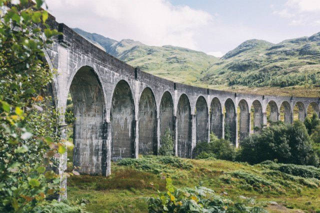 An unusual angle of the Glenfinnan Viaduct