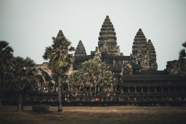 A temple in Cambodia surrounded by palm trees