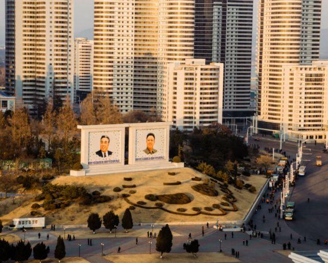 Portraits of Kim Il Sung and Kim Jong Il in the city, North Korea