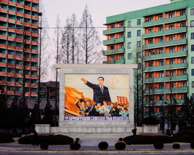 A billboard of propaganda in North Korea