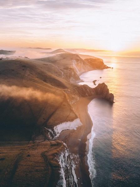 Sunrise over Cliffs at Durdle Door, England