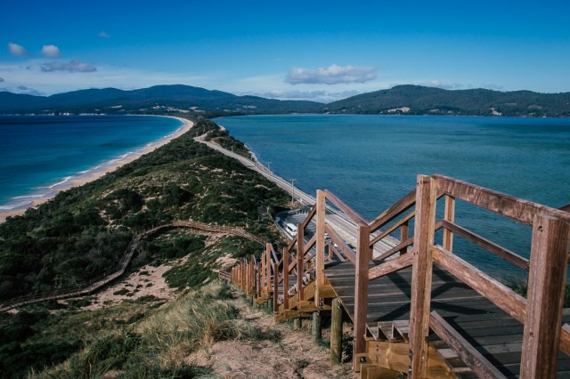 Double coastline on Bruny Island in Tasmania, Australia