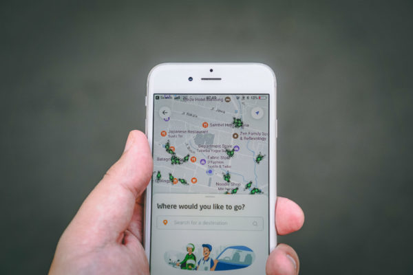 A navigation app asks where a traveler wants to go