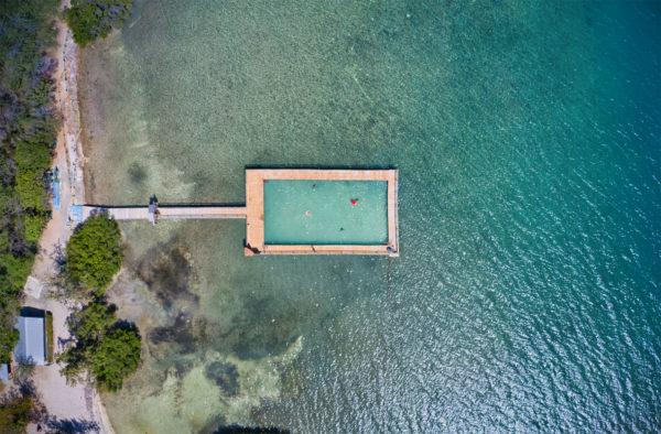 An aerial shot of a pool off the coast of Puerto Rico
