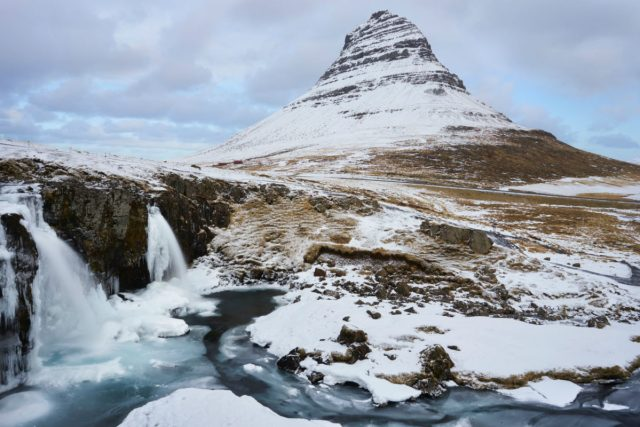 A snowy mountain in Iceland