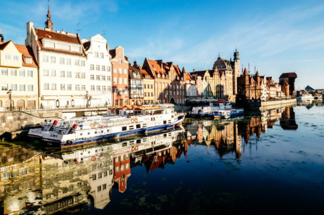 Gdansk harbour on a blue-skied day