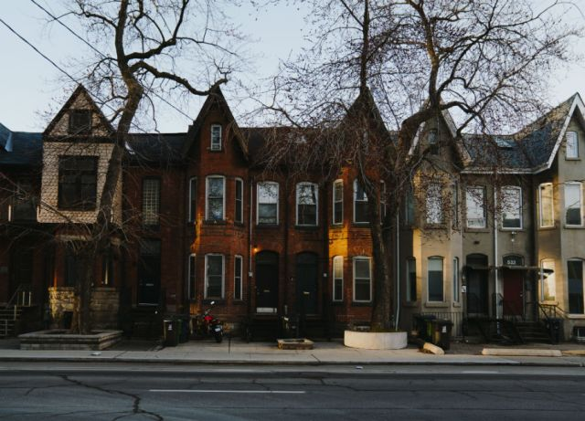 A row of bay and gable houses in Toronto
