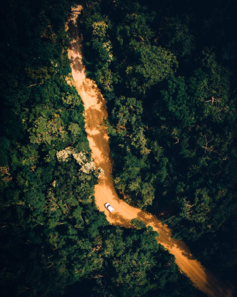 An aerial view of a road in the jungle in Nicaragua