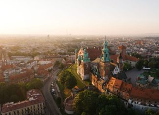 Aerial view of Krakow, Poland