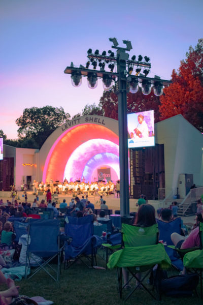 an audience watches a performance at the levitt shell in memphis