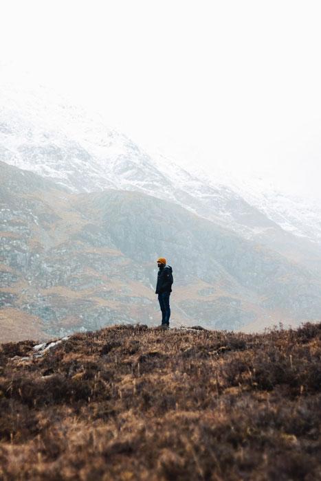 A person in Glencoe, Scotland for Sruthi Ramesh's Instagram Spotlight