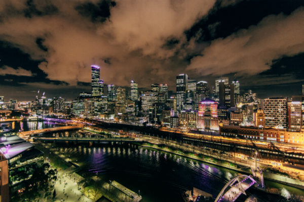 Yarra River and cityscape at nighttime, Melbourne