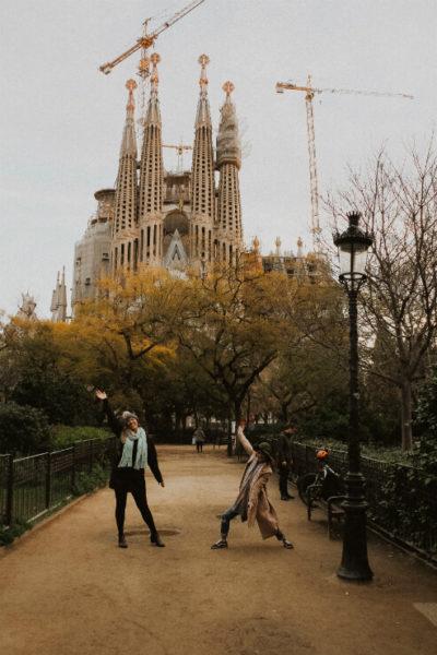 Dilara and Justine strike a pose in Barcelona
