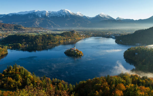 Lake Bled on a clear-skied autumn day