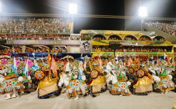 rio carnaval parade at sambadrome