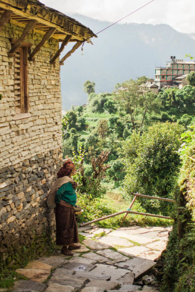 woman and mountain countryside