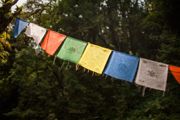 colorful buddhist prayer flags
