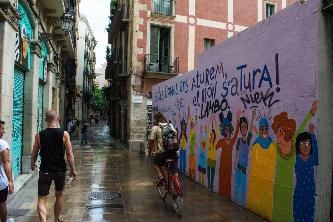 mural in barcelona alley