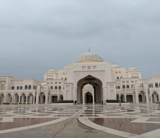 outside of qasr al watan in abu dhabi