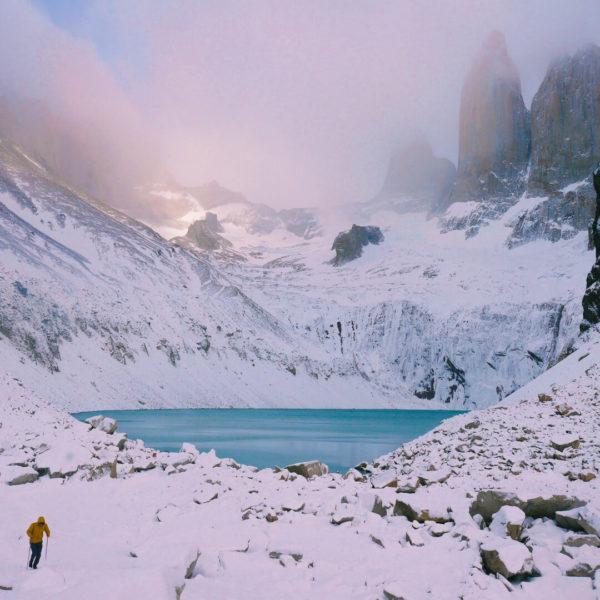 glacial lake in snow