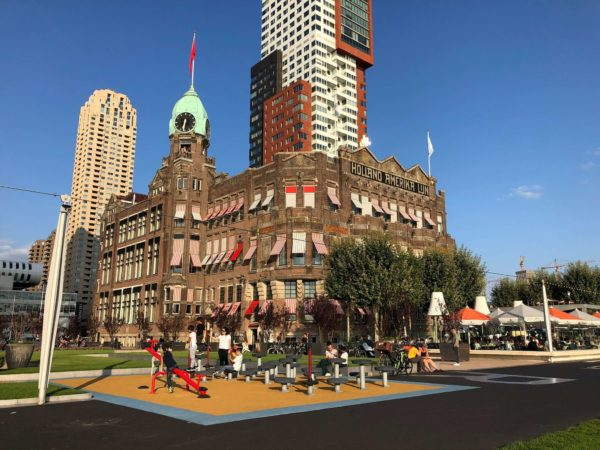 hotel and playground in city