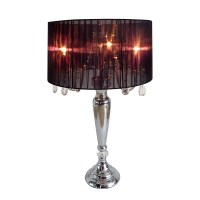 Trendy Sheer Black Shade Table Lamp with Hanging Crystals ...