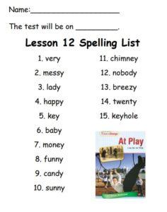 Lesson 12 Spelling List