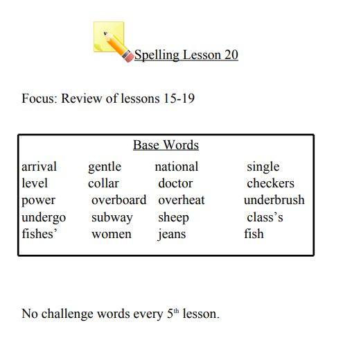 Spelling List Lesson 20 Review