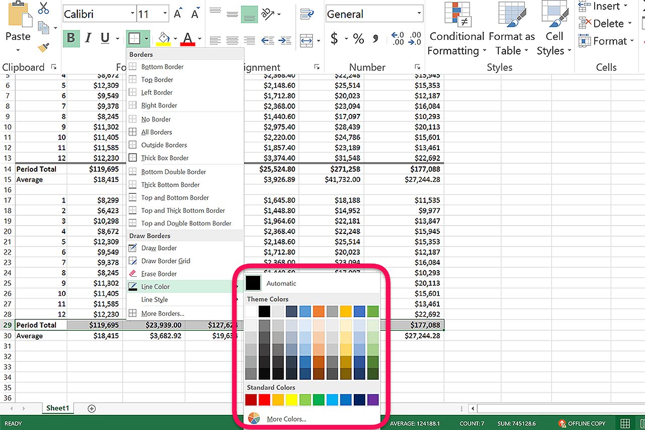 How To Change The Cell Outline Color In Excel