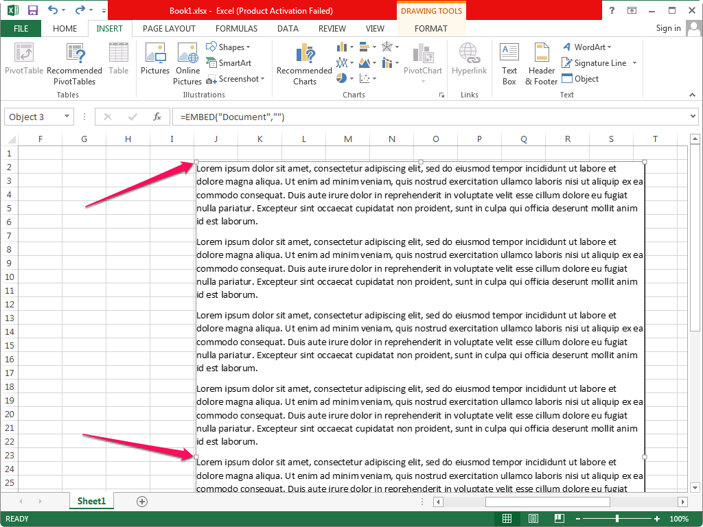 How To Embed A Word Document In Excel