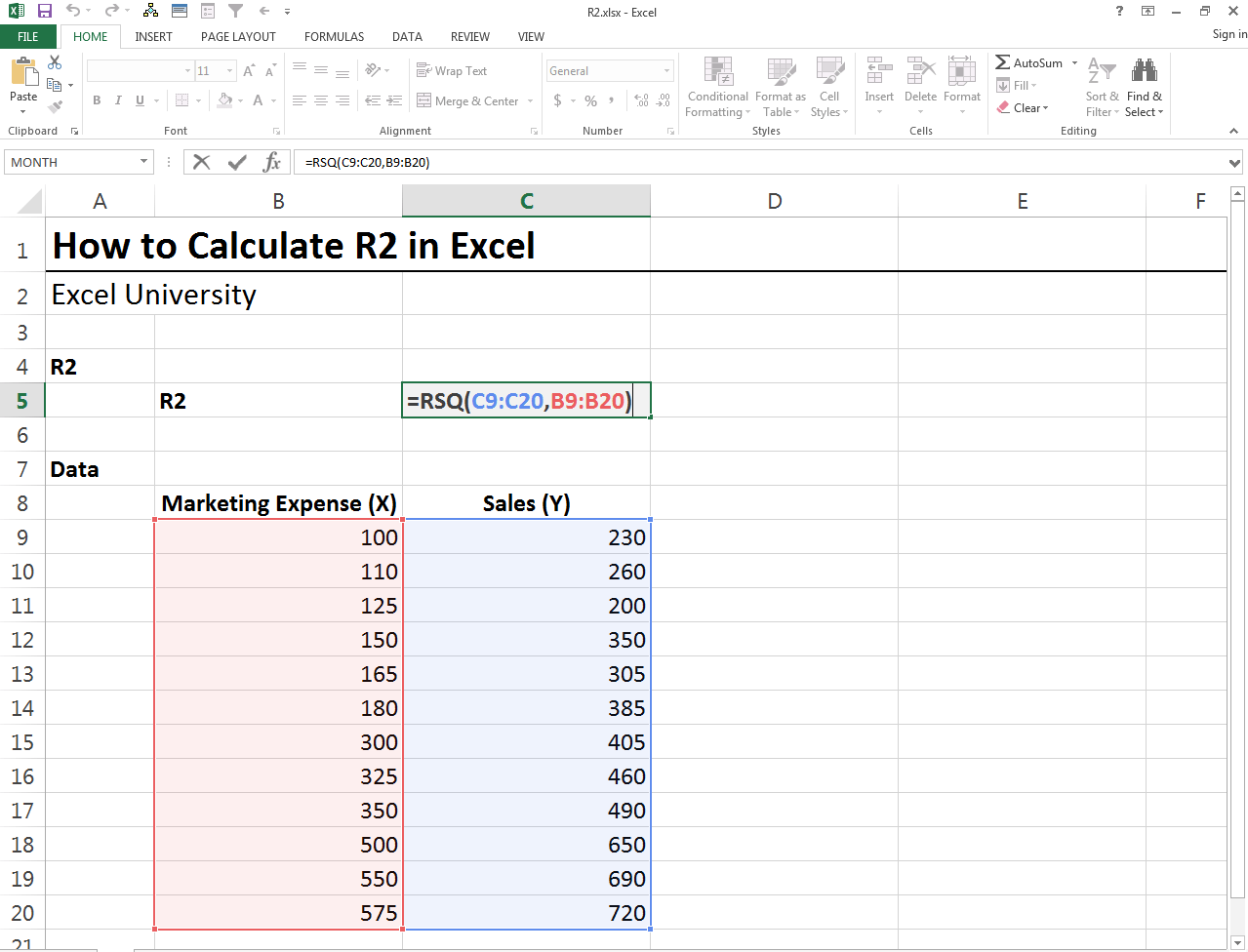 How To Calculate R2 Excel