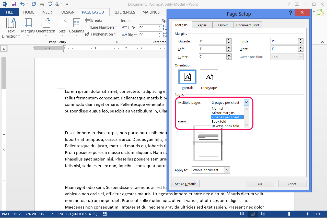 How To Create Half Fold Documents In Word