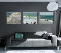 Coastal Beach Wall Art Set of 3 Canvas Wraps | Teal Living ...