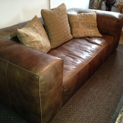 Restoring Leather Sofa Espresso Abstract Design Occasional Console Table Bookshelf Restoration Hardware Fulham Apartment