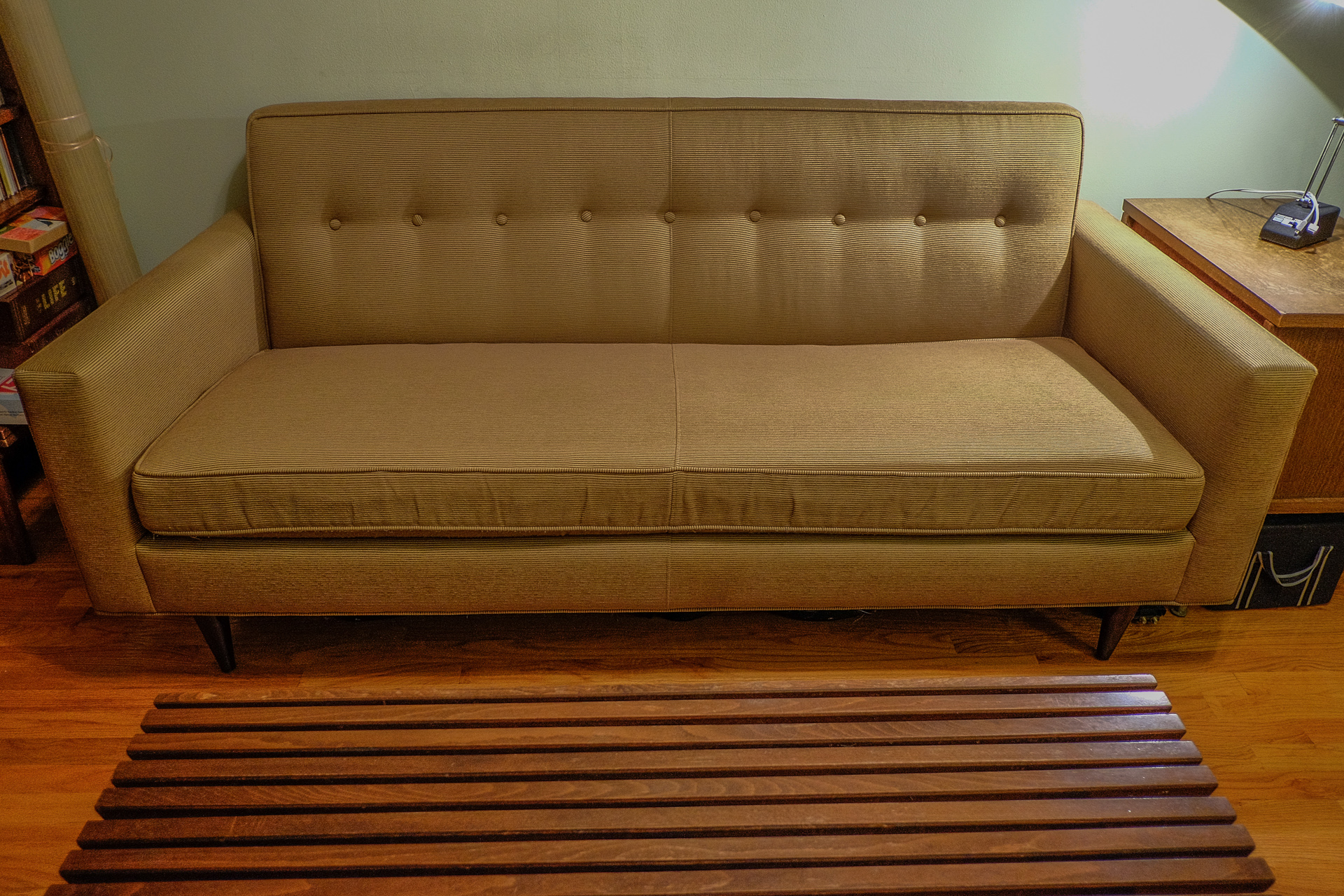 dwr bay sleeper sofa review couch settee bantam | home co