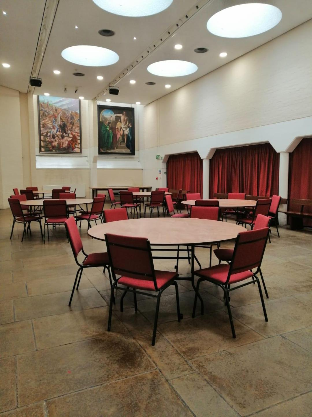 Large Round Tables set up for an event