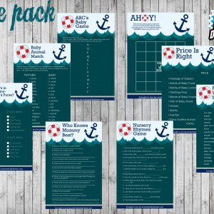 8 Nautical Baby Shower Game Package
