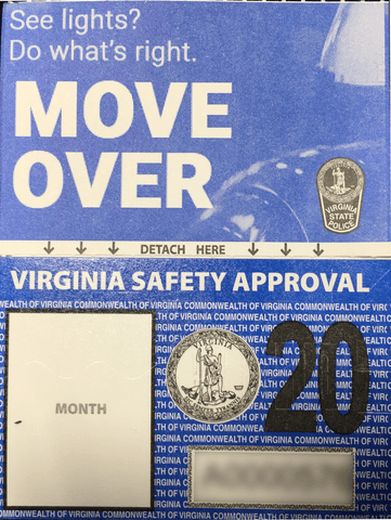 New Virginia Inspection Sticker Debuts Features Move Over Law