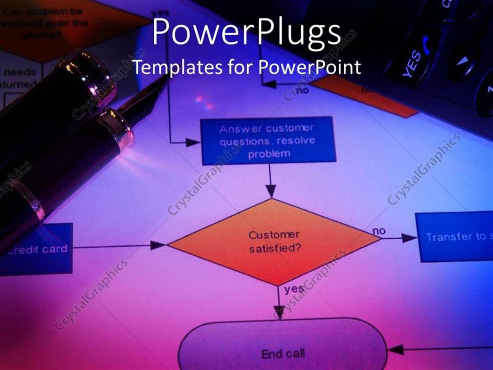 medium resolution of powerpoint template displaying close up of process flow chart with classy pen on top