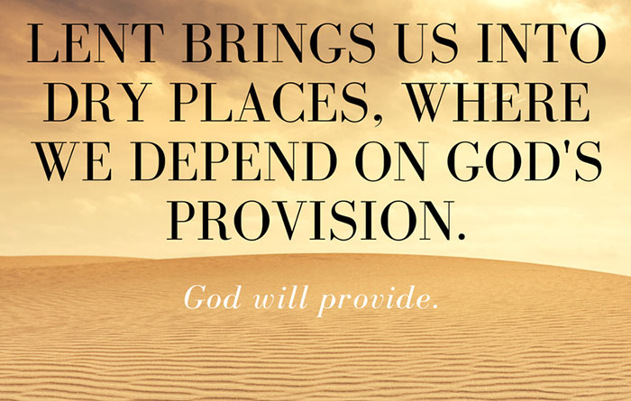 Lent brings us into dry places, where we depend on God's provision.  God will provide.