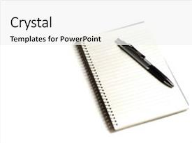 PowerPoint Template: Silver ink pen with folded paper
