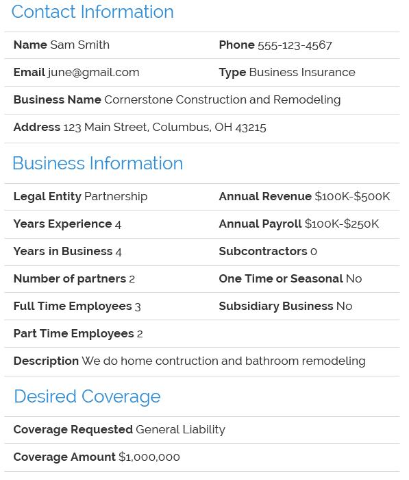 Business insurance lead