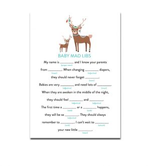 Baby Shower Game Guess the Baby Food Tribal Woodland Fox