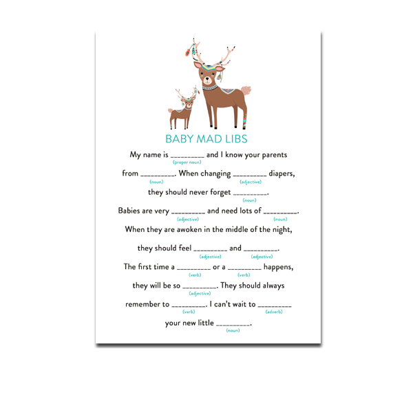 Baby Shower Activity Baby Mad Libs Tribal Country Deer