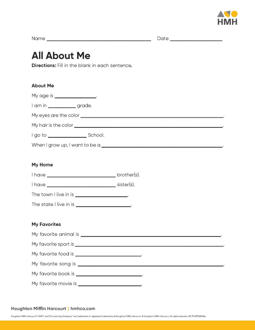medium resolution of All About Me Activities for Elementary \u0026 Middle School - Houghton Mifflin  Harcourt