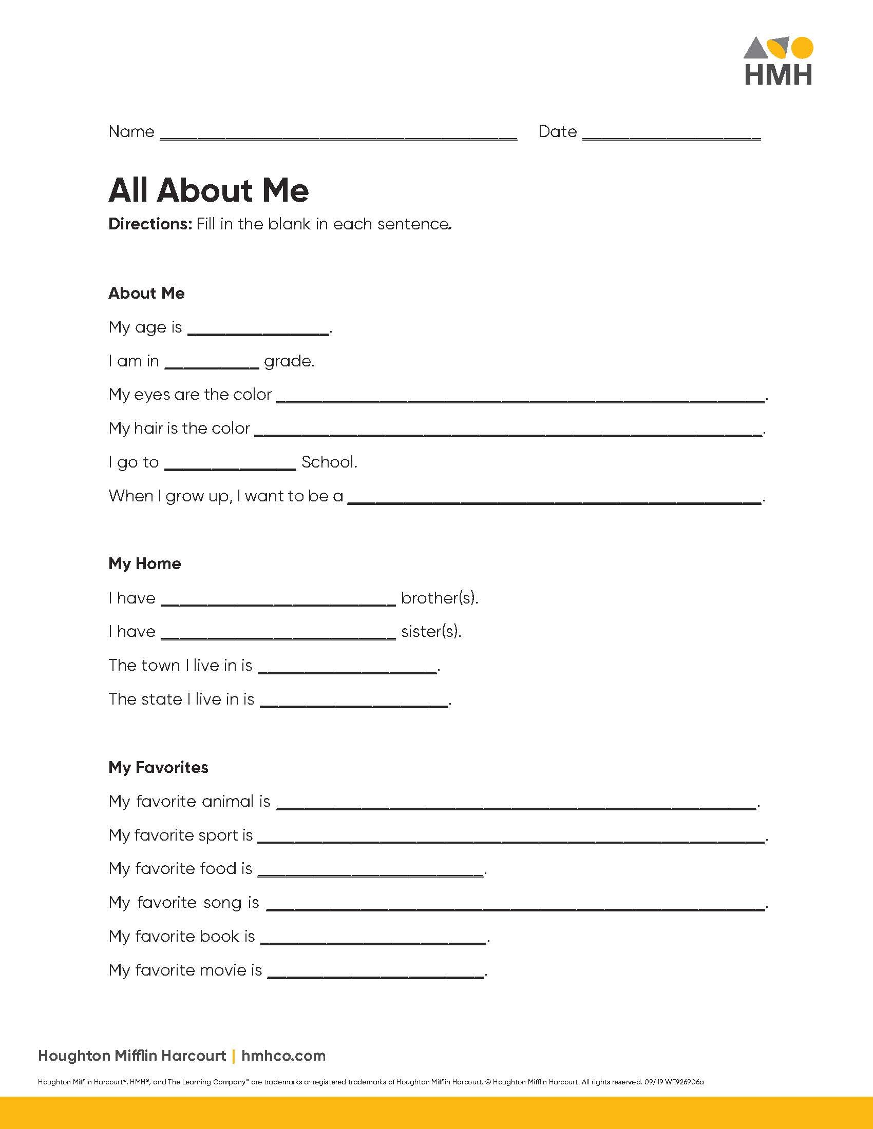 hight resolution of All About Me Activities for Elementary \u0026 Middle School - Houghton Mifflin  Harcourt