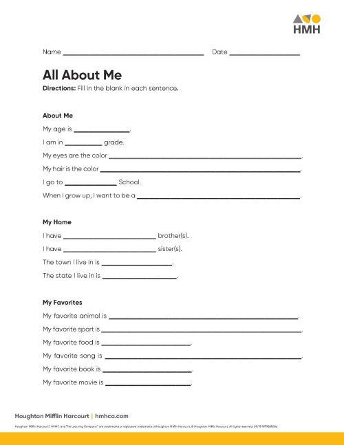 small resolution of All About Me Activities for Elementary \u0026 Middle School - Houghton Mifflin  Harcourt