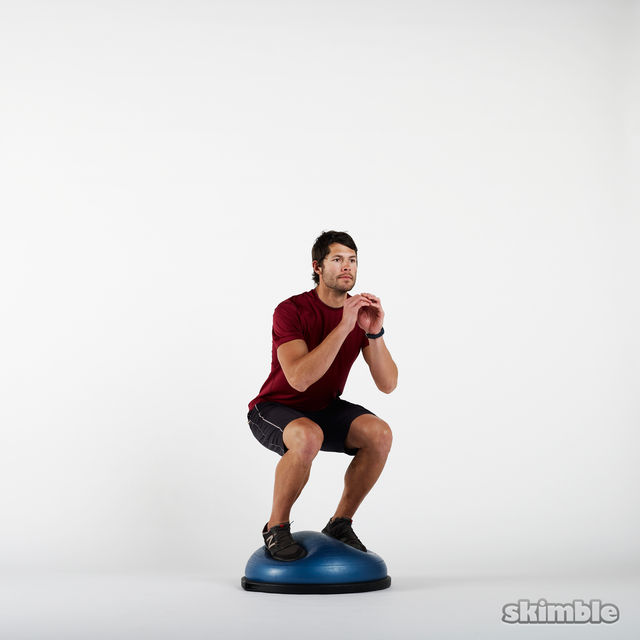 gym ball office chair youth table and chairs bosu squats - exercise how-to workout trainer by skimble