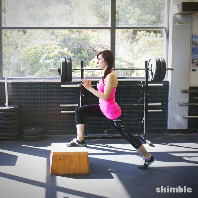 Reverse Lunge Off Step Exercise How To Workout Trainer
